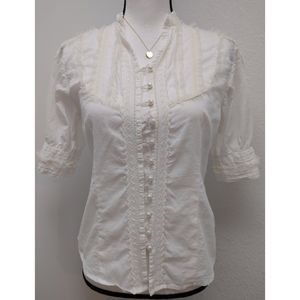 Vintage Victorian White Ivory Lace Delicate Top